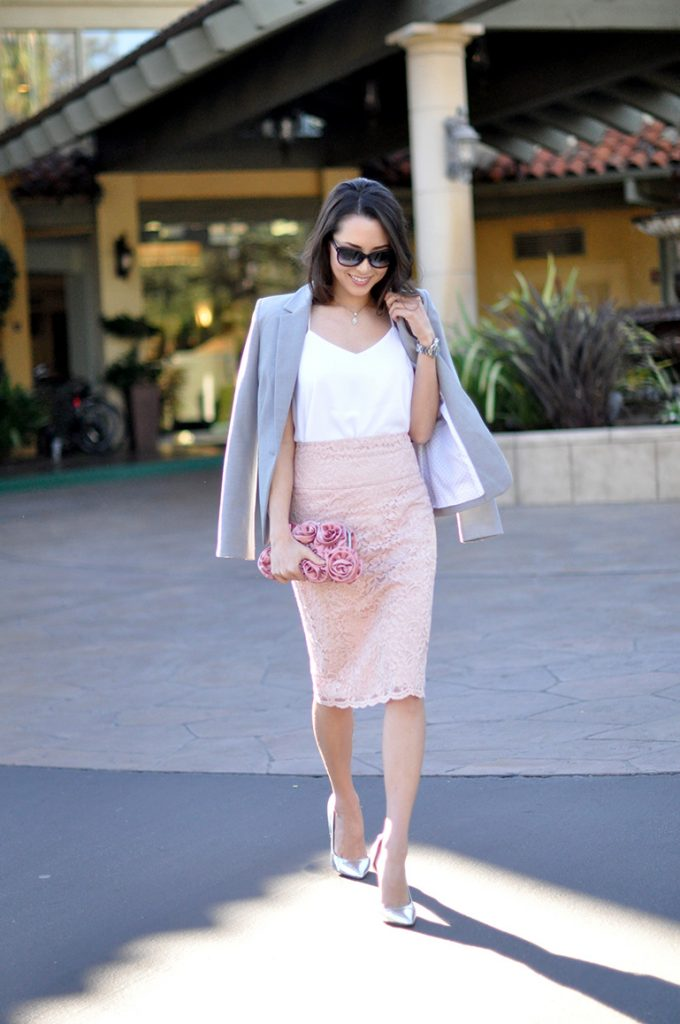 blush pink lace pencil skirt bmodish