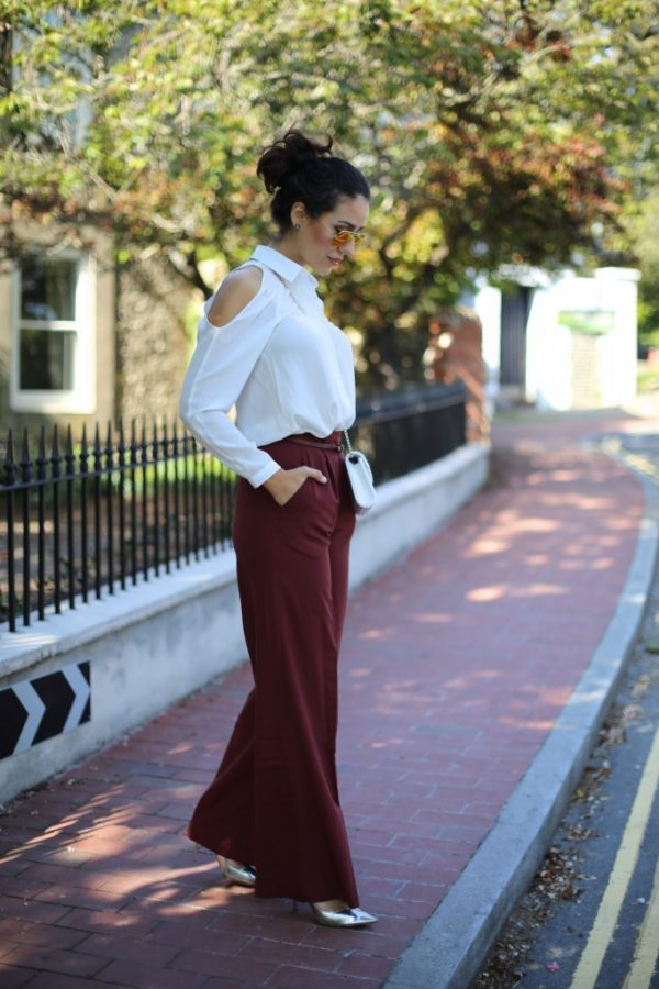 burgundy wide leg pants with off shoulder blouse bmodish