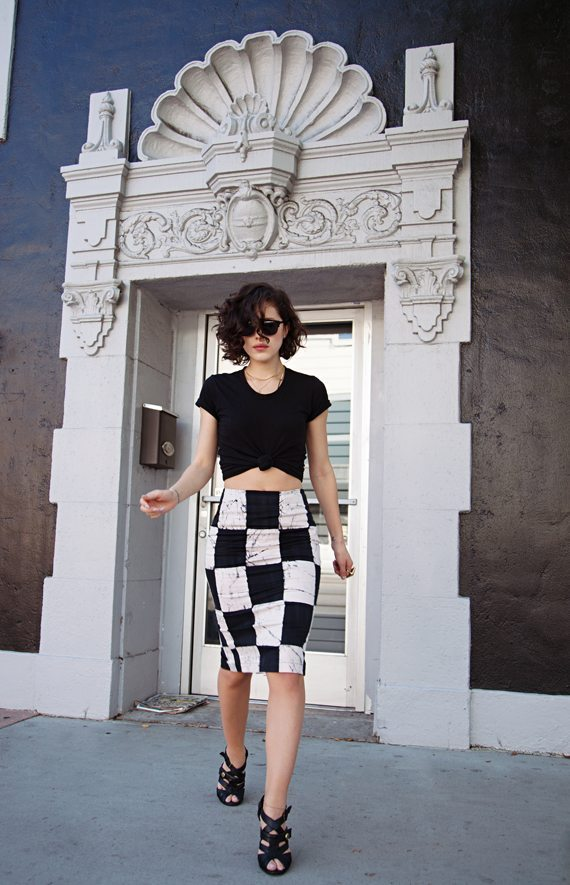 check black and white pencil skirt bmodish