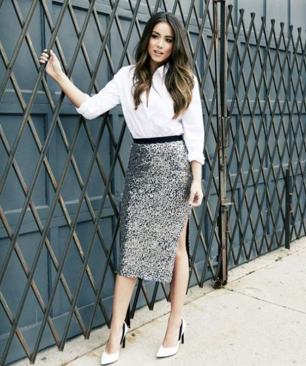 sequin pencil skirt outfit bmodish