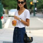 denim front button skirt casual outfit