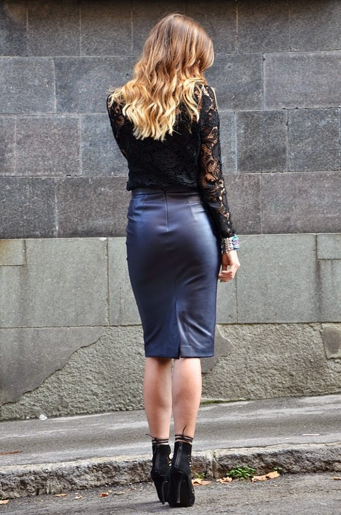 faux leather pencil skirt with crochet top bmodish