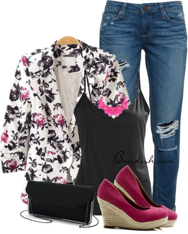 floral blazer fuchsia wedges casual spring outfit bmodish