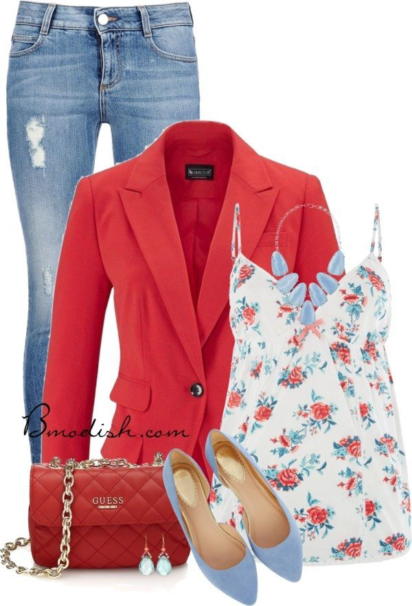 floral cami top with blazer spring outfit bmodish
