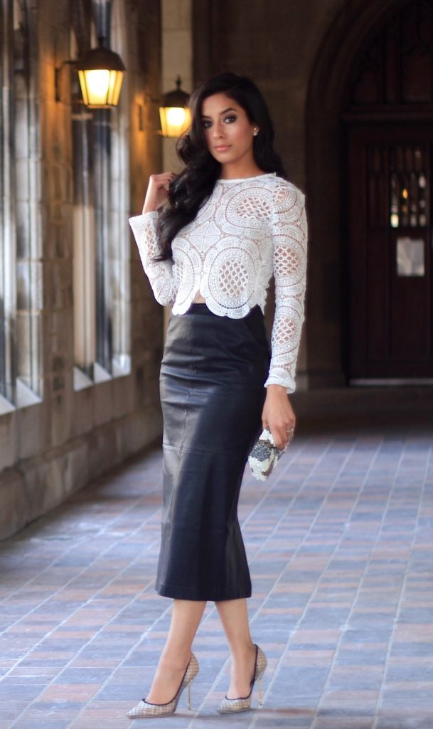 lace top leather pencil skirt bmodish