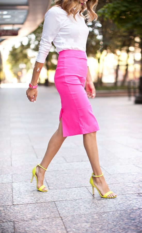 how to wear bright pink pencil skirt bmodish