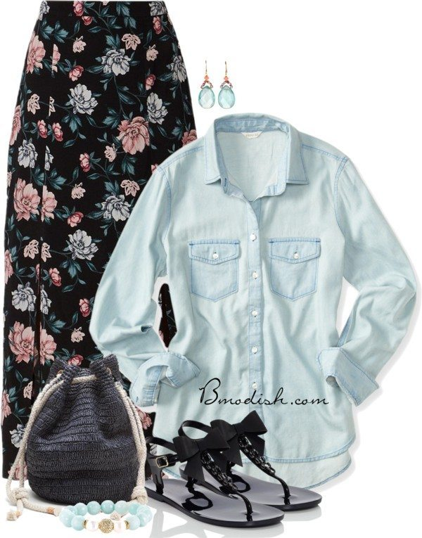 maxi skirt chambray shirt casual spring summer outfit bmodish