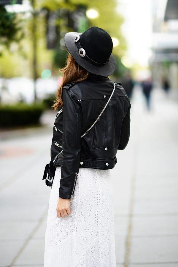 maxi skirt with leather jacket bmodish
