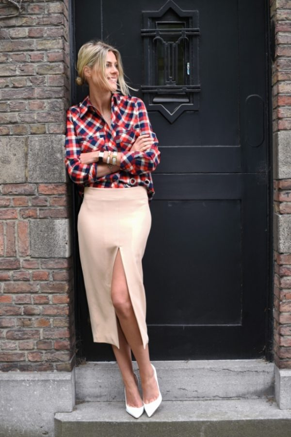 nude color pencil skirt with plaid shirt bmodish