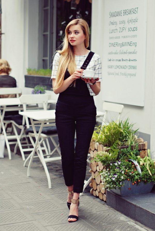 overalls black white casual bmodish