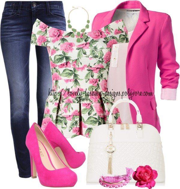 pink boyfriend blazer and floral top bmodish