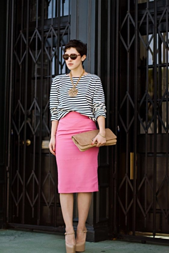 pink pencil skirt stripe top bmodish