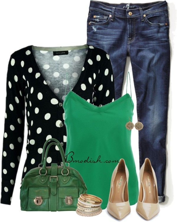 polka dot cardigan green cami top casual spring outfit bmodish