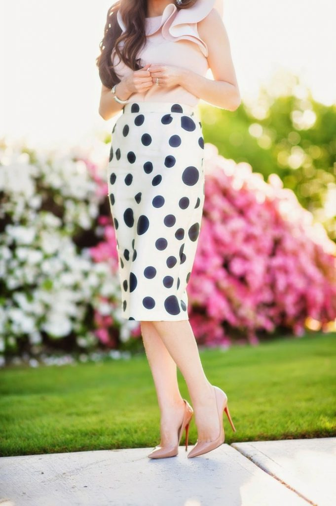 polka dot skirt ruffle top bmodish
