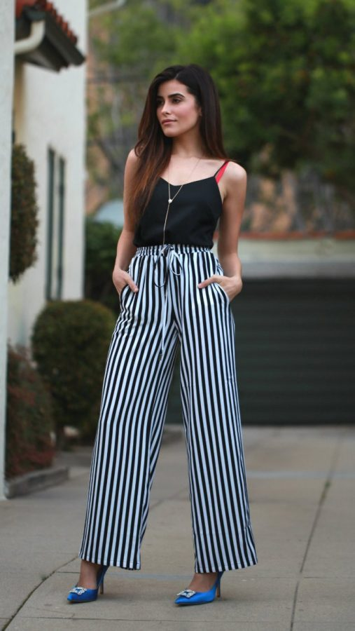 stripe wide leg pants bmodish