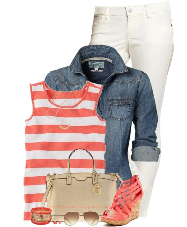 striped tank top, chambray and white pants outfit bmodish