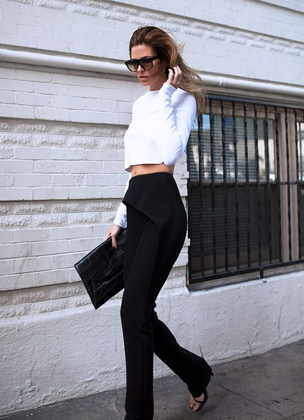 white crop top black pants sexy outfit bmodish