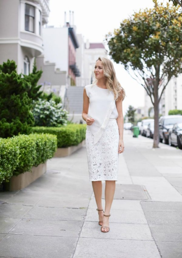 all white lace pencil skirt outfit