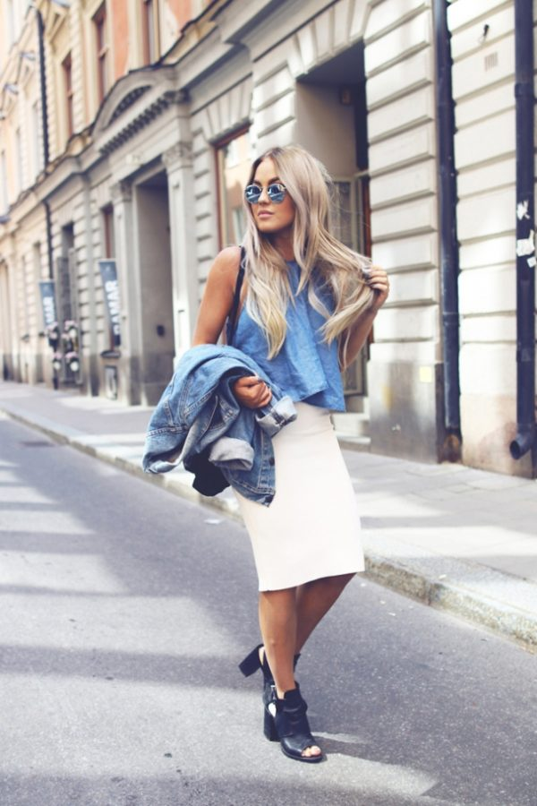 white skirt and denim jacket casual summer outfit bmodish