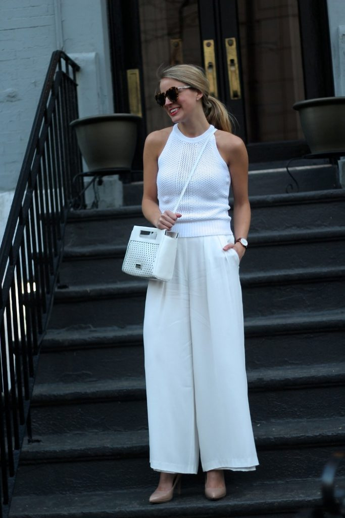 how to wear white wide leg trousers bmodish