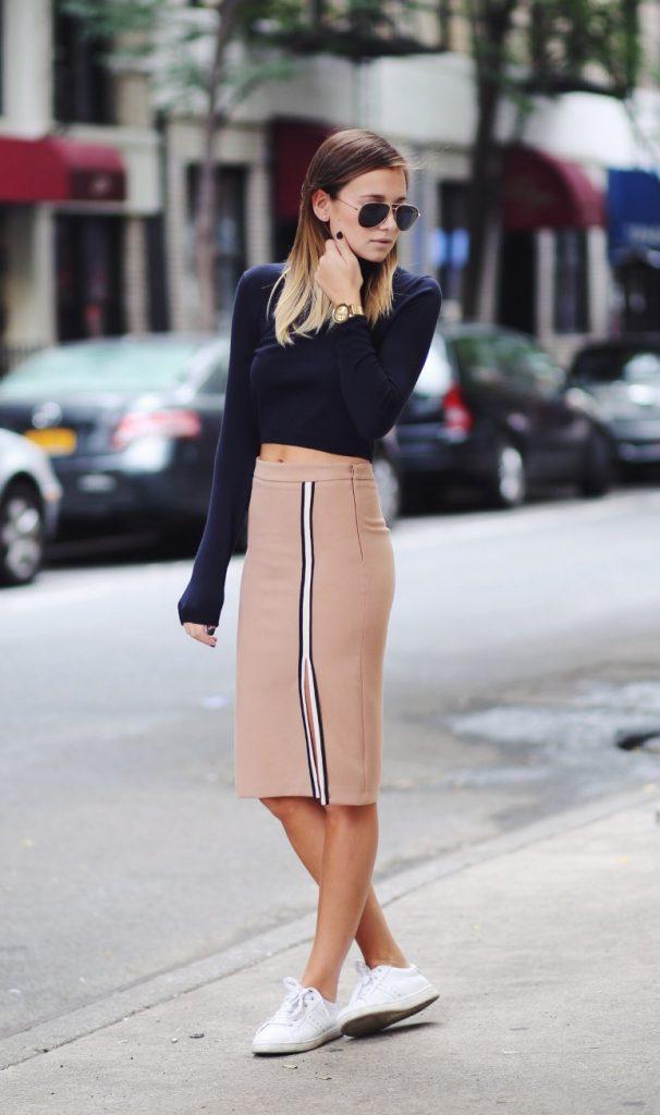 zara pencil skirt with navy top bmodish