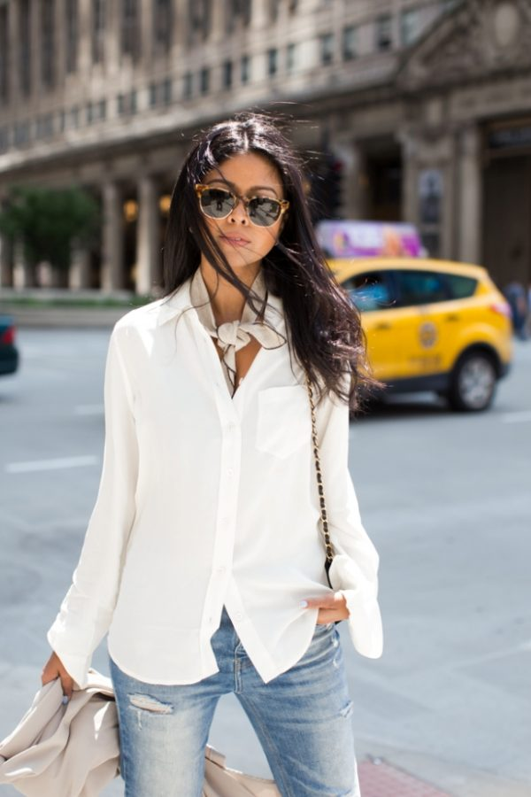 casual with neck scarf outfit