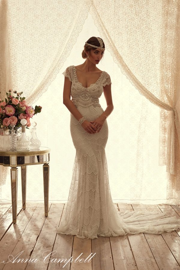 CocoFrontFitandFlare anna campbell wedding dress bmodish