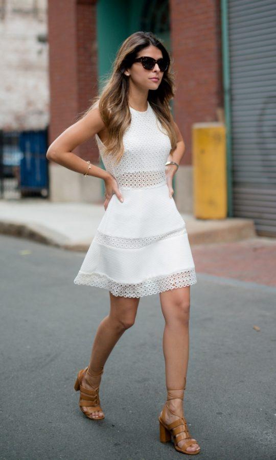 eyelet crochet little white dress outfit