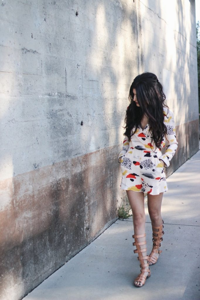 Weekend Love Harlyn romper with gladiator sandals bmodish