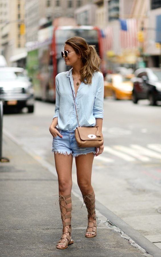 blue-nyc chambray, short, gladiator sandals bmodish
