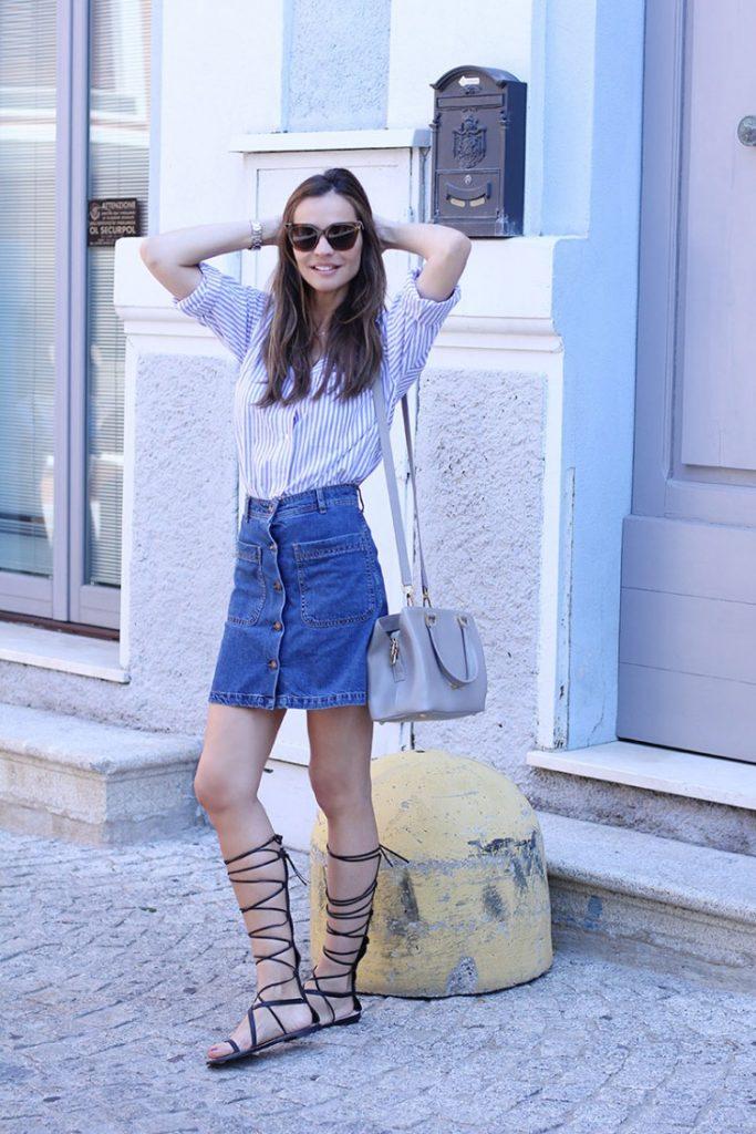 button front denim skirt menswear shirt gladiator sandals bmodish
