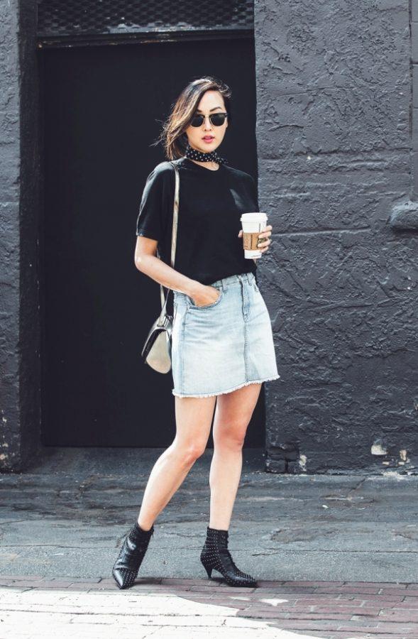 chriselle_lim_scarf_denim_skirt_sunglasses_rayban-polka dot silk neck scarve bmodish