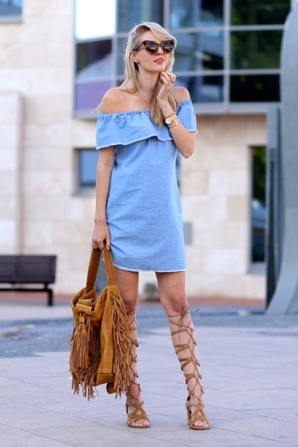 denim summer dress with gladiator sandals outfit