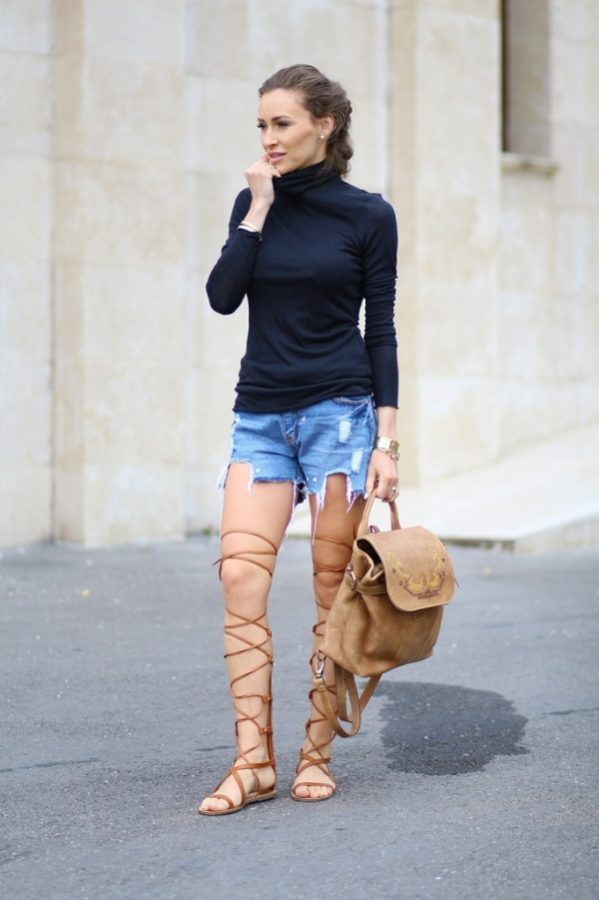 gladiator sandals turtleneck top bmodish