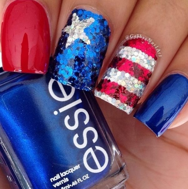glitter 4th of july nails bmodish
