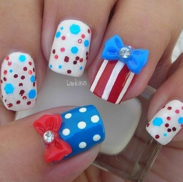 glitter and polka dot 4th of july nails bmodish