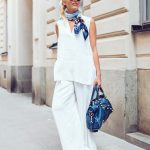 all white outfit with neck scarf accessories