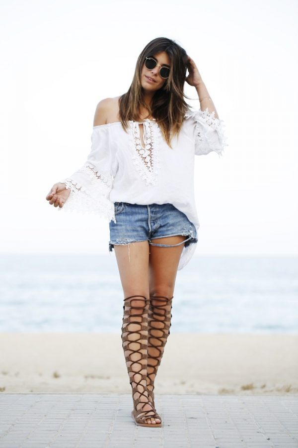 knee high gladiator sandals outfit bmodish