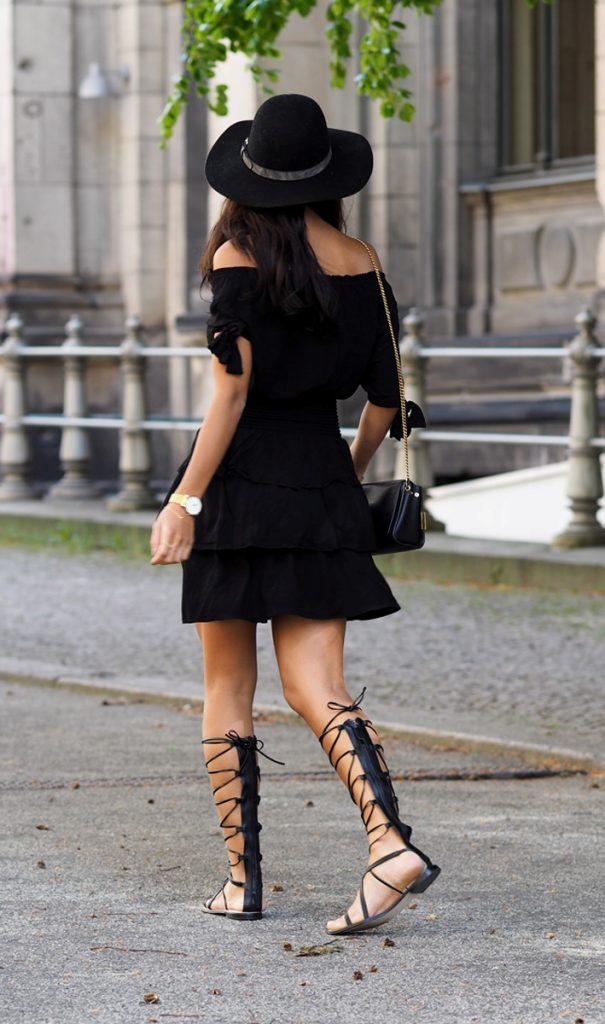 summer ruffle dress with gladiator sandals bmodish
