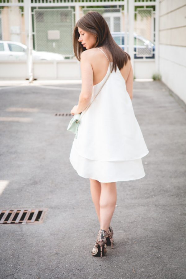 spagetti halter little white dress outfit