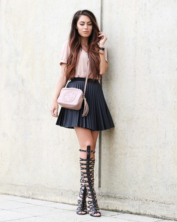 pleated skirt, basic and gladiator sandals bmodish