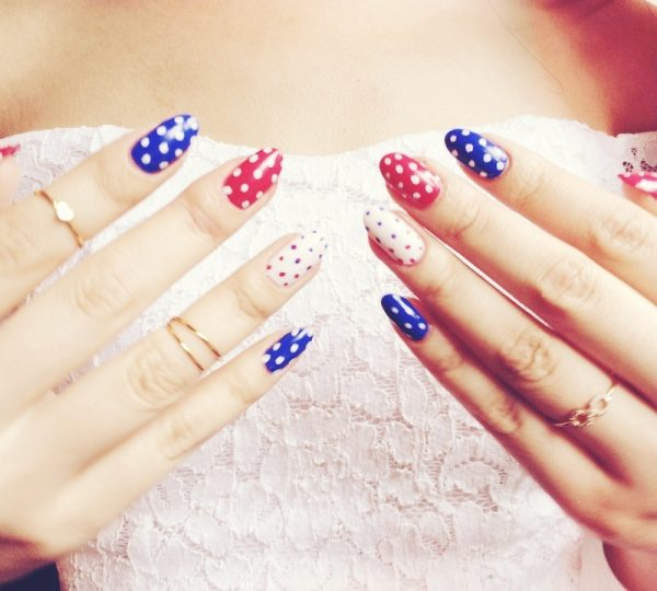 polka dot 4th of july nails bmodish