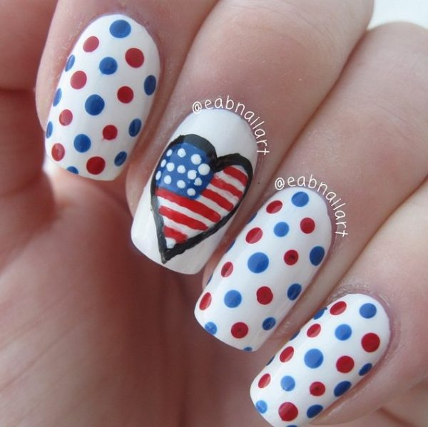 polka dot and heart 4th of july nails bmodish