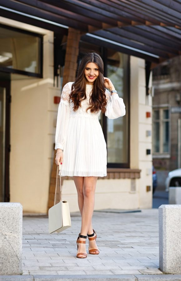 pretty lace white summer dress bmodish