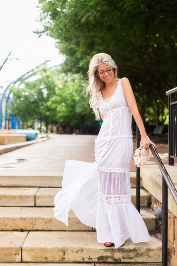 pretty long white maxi dress bmodish
