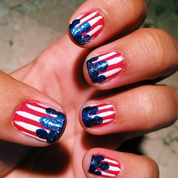 red white blue independence day nail art bmodish