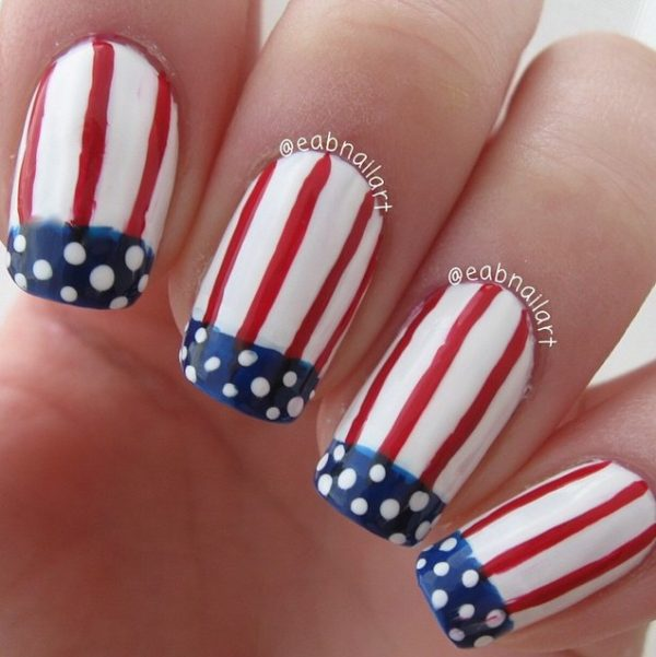 stripes and dots 4th of july nails bmodish
