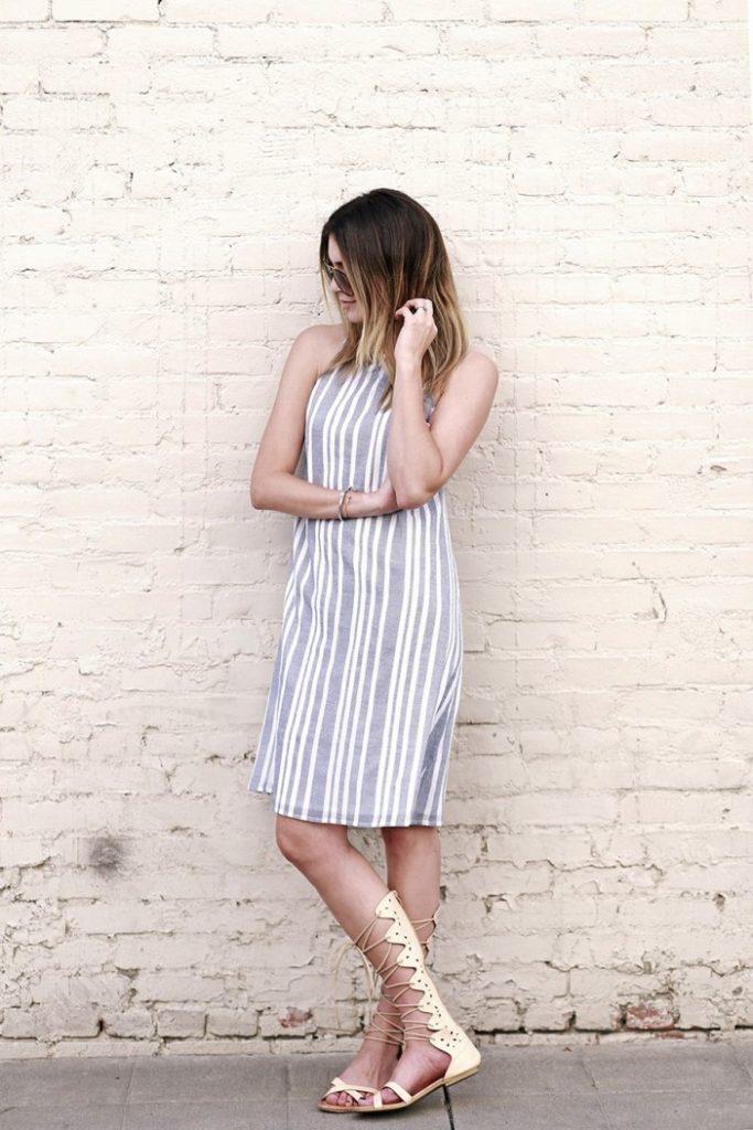 stripes dress with gladiator sandals bmodish