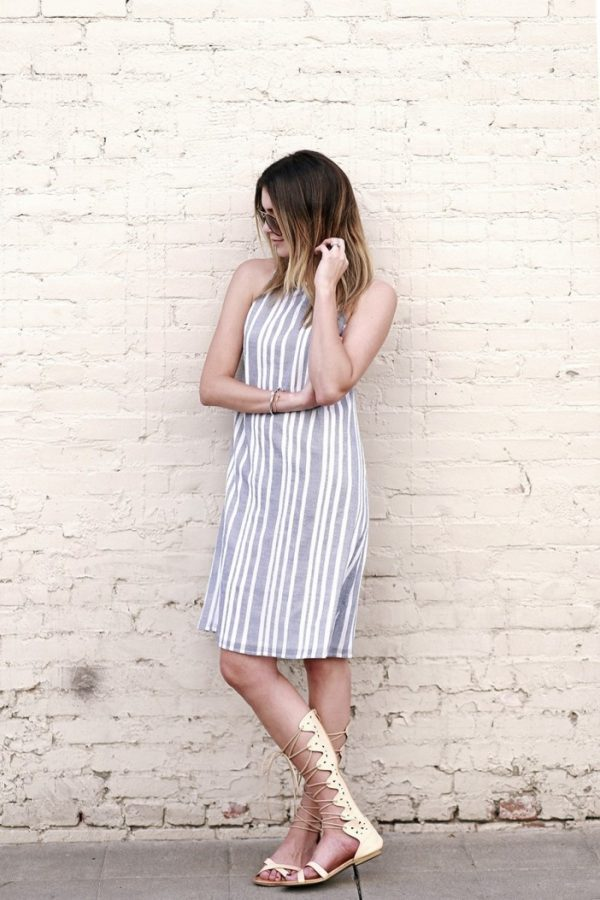 stripes dress with gladiator sandals bmodish
