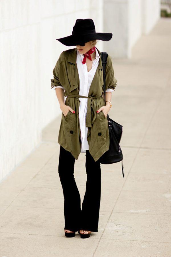 neck scarf army jacket bmodish
